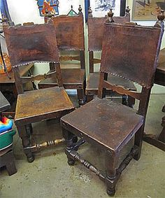 Great Set Of 4 Spanish Colonial Dining Chairs With The Original Leather And  Finish. Wonderful