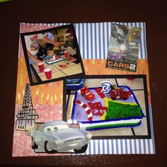 3rd Birthday, CARS theme; Page 4: This is a 8 by 8 scrapbook page featuring Cars cut-outs.