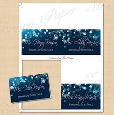 Midnight Blue Night Sky Place Card Tents: by BrownPaperMoon