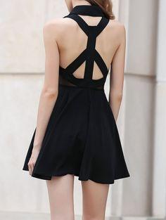 Dress: zaful, black dress, black, strappy, fashion, backless, cute, trendy, summer, skater dress, style, little black dress, sexy dress, party dress, sexy party dresses, criss cross back - Wheretoget