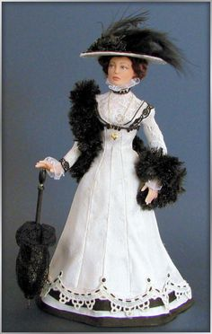 """""""Annemarie"""". My first hand made mold. Miniature porcelain doll in silk/lace 1912 ensemble by Annemarie Kwikkel"""