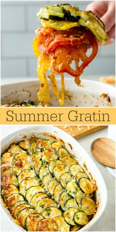 This summer gratin recipe- with layers of tomato, zucchini, yellow squash, onion and fresh herbs- is the perfect summer side dish. Omelettes, Quiches, Zucchini Gratin, Zucchini Tomato, Vegetarian Recipes, Cooking Recipes, Healthy Recipes, Courgette Recipe Healthy, Side Dish Recipes