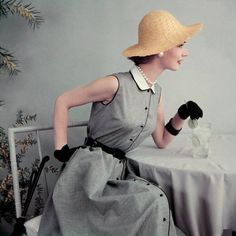 Black and white gingham dress with pique collar, gloves and straw hat, 1952. Photo by Frances McLaughlin-Gill.