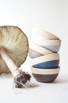 Wooden Mini Bowl Set of Five: Neutral colors for Fall. $36.00, via Etsy.