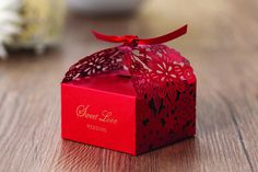 Asian Chinese themed laser cut flora design wedding candy box party sweet guest favor gift box