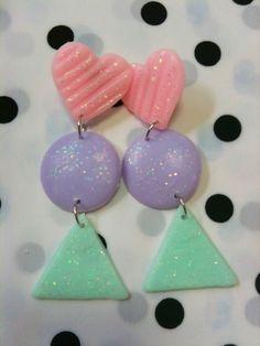 pastel kitsch f-yeah fairy kei earrings! Dark Purple Hair, Dyed Hair Purple, 80s Earrings, Clay Earrings, Hidden Rainbow Hair, Unicorn Hair Color, Vaporwave Fashion, Loose French Braids, Pastel Designs
