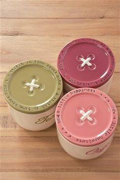 Button storage jars from Next === paint jar lids, add grommets for holes Kitchen Jars, Cute Kitchen, Kitchen Stuff, Kitchen Ideas, Tea Coffee Sugar Jars, Vintage Cupcake, Jar Design, Painted Jars, Jar Lids