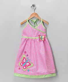 Take a look at this Pink Butterfly Seersucker Halter Dress - Infant, Toddler & Girls by Gingham Girl: Spring Dresses on #zulily today!