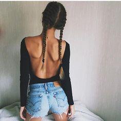 Hair Goals and Denim Shorts via @the_haute_hunter  By  @amandalinneas_  by fashionformodelzz