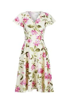 c82a7a7e1d20 Pale Yellow Floral Gathered Cap Sleeve Crossover Top 50s Swing Dress