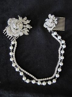 Pearl Wedding Forehead Band Brow Headband chain Bridal Headpiece. Art Deco Style Bridal Accessory.1920s Headpiece, Vintage Roses