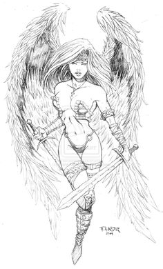 Fantasy Warrior Coloring Pages | images of angel warrior tattoo design by frankakadar on deviantart ...
