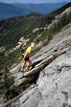 Hiking the steep White Mountains of New Hampshire.