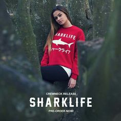 The new red limited Sharklife crew neck is now available for pre order on www.sharklifebrand.com!  Get your crewneck now!  Size S to 3Xl free Shipping!! #sharklife #sharklifebrand #shark #sharks #fashion #brand #鮫 #サメ #さめ #シャークライフ