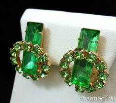 Vintage Juliana Peridot Green Rhinestone Clip Earrings Gold Tone Gorgeous!  $35.00 SOLD