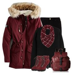"""""""Burgundy parka"""" by lenaick ❤ liked on Polyvore featuring 7 For All Mankind, American Eagle Outfitters, Alexander Wang, Nine West, Charlotte Russe and Kenneth Cole Reaction"""