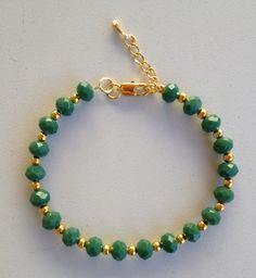 Green crystal beaded bracelet pulseira de cristal verde