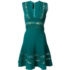 Elie Saab Embroidered Panel Dress ($1,392) ❤ liked on Polyvore featuring dresses, green, sleeveless pleated dress, elie saab, deep v-neck dress, blue pleated dress and blue sleeveless dress