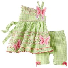 Bonnie Baby-Girls Newborn Butterfly Legging Set, Green, 0-3 Months