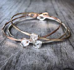 Herkimer Diamond Bracelet / April Birthstone / Rose by niccoletti
