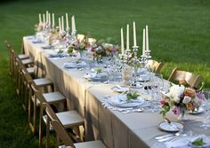 Garden Wedding Table-I like the champagne tablecloths. it makes the table settings stnd out