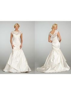 Elegant A-line Court Train Satin and Lace Wedding Dresses Bridal Gowns 2302054