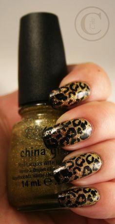 Thulian In Wonderland: Leopard nails....sponge tip with black over gold base?