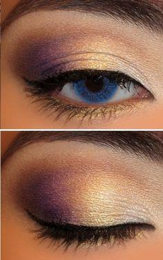 Purple & Gold eye makeup