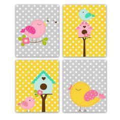 Bird+Nursery+Prints+Art+Wall+Decor+Set+of+4+by+GandGPrints+on+Etsy,+$50.00