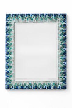Custom Bathroom Mosaic Mirror  Sky Blue Teal Light by opusmosaics