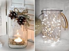 Barattoli di vetro con candele - decorazioni di Natale fai da te Christmas Mood, Christmas Lights, Christmas Wreaths, Christmas Crafts, Christmas Decorations, Holiday Decor, Hobbies And Crafts, Diy And Crafts, Navidad Diy
