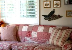 Red & White Patchwork couch!
