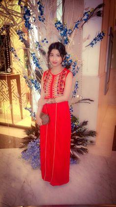 Red indowestern ethnic maxi dress