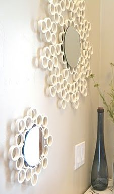 pvc pipe mirror, bedroom ideas, diy, repurposing upcycling, I cut the pvc pipe into about half inch wide circles and glued them together Pvc Pipe Projects, Diy Projects To Try, Diy Mirror, Mirror Bedroom, Mirror Ideas, Home And Deco, Diy Furniture, Diy Home Decor, Easy Diy
