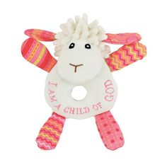 """""""I am a child of God"""" Pink Lamb Baby Rattle. So cute!"""