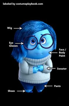 Feeling blue? Then dress up as Sadness from Pixar's Inside Out! Full #costume guides for all of the emotions are here: http://costumeplaybook.com/movies/3185-inside-out-costumes/