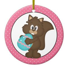 Easter Squirrel Holiday cartoon ornament