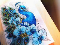 Peacock in flowers watercor or color pencils Peacock Drawing, Peacock Painting, Peacock Art, Fabric Painting, Black Pen Sketches, Art Sketches, Bird Drawings, Animal Drawings, Social Media Art