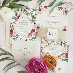 Klara Watercolor Floral Wedding Invitation Suite with by lvandy27