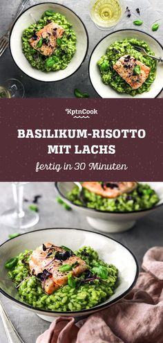 Basil risotto with salmon - Rezepte: Pasta, Gnocchi & Co. - Simple basil risotto with salmon The Effective Pictures We - Risotto Simple, Filet Mignon Chorizo, Recetas Whole30, Whole 30 Recipes, Salmon Recipes, Carne, The Best, Clean Eating, Food Porn