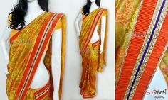 Yellow embroidered tissue saree  CODE: SD092 PRICE: Rs.4650 SAREE: Yellow tissue saree with an intricate embroidery all over the saree and textured orange border BLOUSE: Yellow cottonsilk material