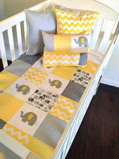 Elephant Baby Crib Quilt and two cushion by AlphabetMonkey, $290.00