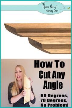 How To Cut Any Angle With a Miter Saw, even angles that are more than 45 degrees. How To Cut Any Angle With a Miter Saw, even angles that are more than 45 degrees! Great DIY tip for the beginner woodworker from Queen Bee of Honey Dos Woodworking For Kids, Woodworking Skills, Woodworking Patterns, Easy Woodworking Projects, Popular Woodworking, Woodworking Tools, Wood Projects, Woodworking Furniture, Woodworking Workshop