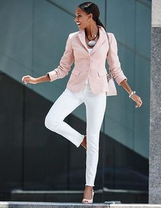 MADELEINE - Beautiful summer office blazer. Stylish textured fabric with fashion appeal in a delicate, on-trend colour.