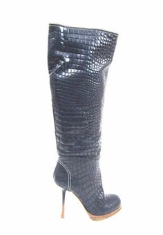 GIANMARCO LORENZI BLUE CROC EMBOSSED LEATHER KNEE HIGH STILETTO BOOTS SZ.40-NEW  | eBay