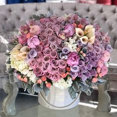 Lush Kisses of Lavender and Pink - JLF Flower Boutique in Los Angeles Luxury Flowers, Romantic Flowers, Beautiful Flowers, Wedding Bouquets, Wedding Favors, Wedding Decorations, Candy Arrangements, Candy Flowers, Flower Boutique