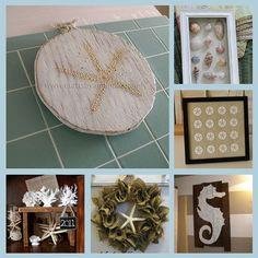 6 Beach Crafts  1. Starfish Plaque  2. Seashell Shadowbox  3. Framed Sand Dollar Art  4. Faux Coral  5. Burlap and Starfish Wreath  6. Seahorse Plank