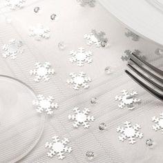 Silver Snowflake Table Confetti & Gems