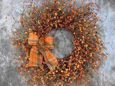 FALL Mix Berry Twig Wall Door Sunburst Wreath by Designawreath