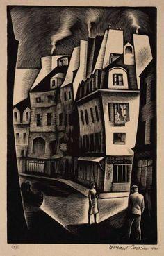 "Howard Cook: ""Calle parisina"" (1930)."